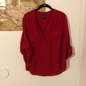 Torrid Fire Engine Red Double Pocket Blouse
